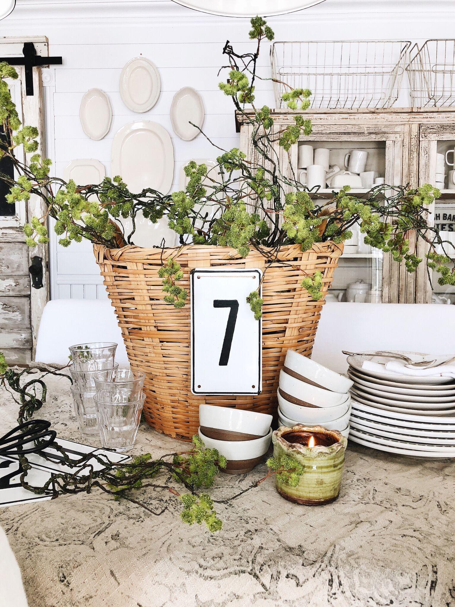 Spring Basket Centerpiece - Farmhouse Spring Tablescape