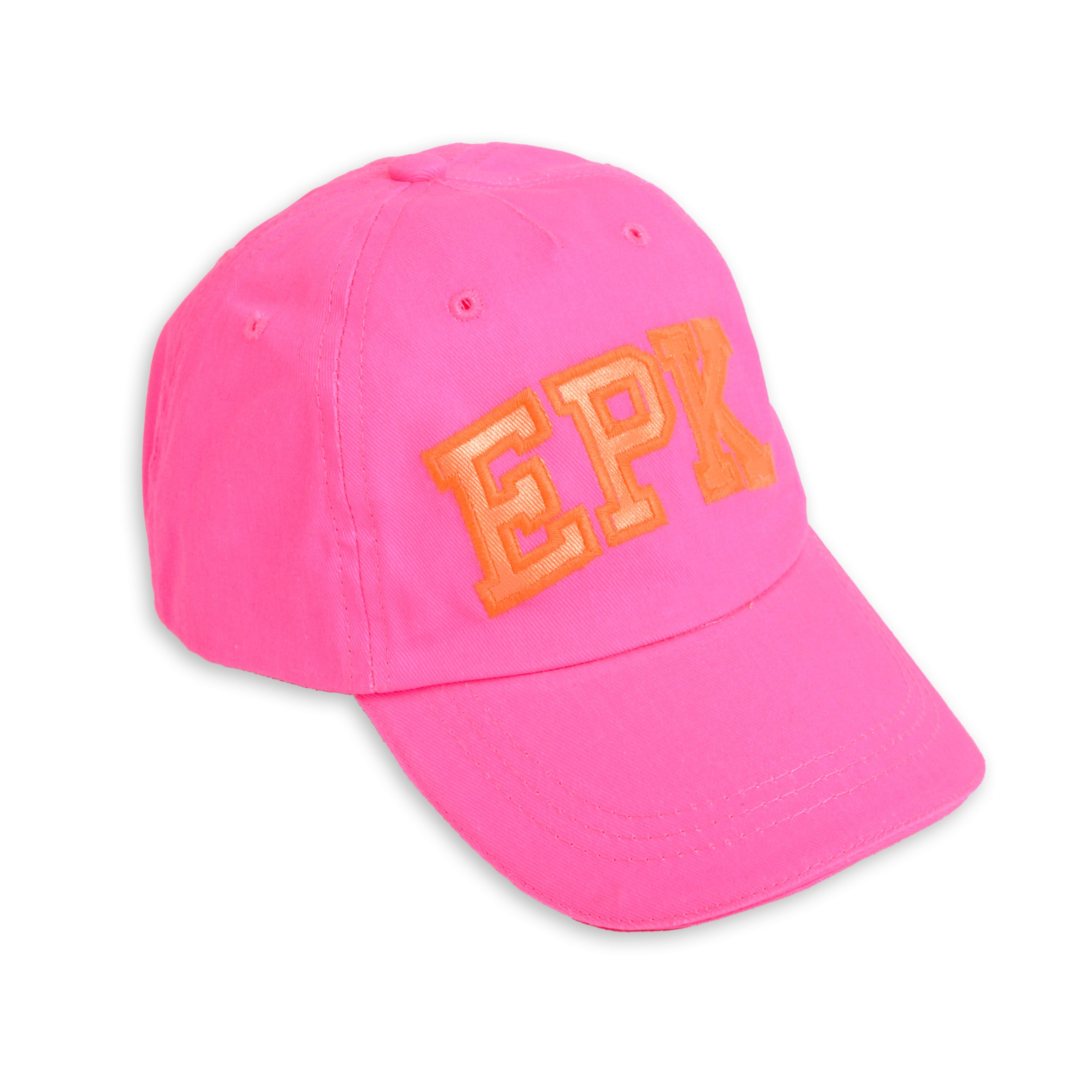 086e255c8a Gorra estilo béisbol para niña en color rosado neón y letras en color  anaranjado neón.