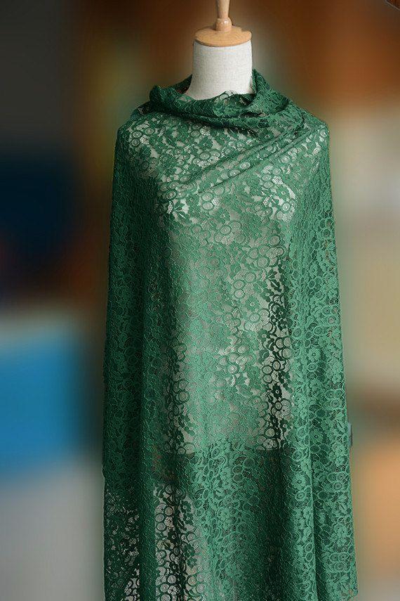 Smaragd grüner Spitze Stoff, Stoff Stretch lace    =====MEASUREMENT=====    Breite: 120cm    =======COLOR======== …