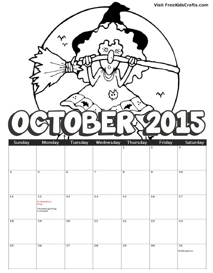 Free printable 2014 october coloring calendar to help the kids keep on track