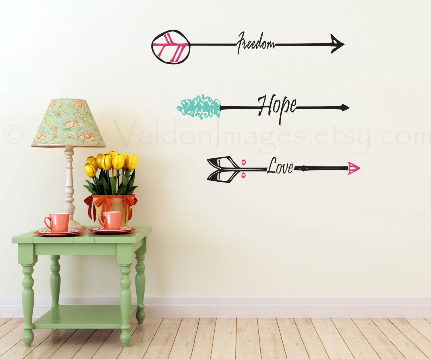 Freedom arrow wall decal, inspirational wall decal, living room ...