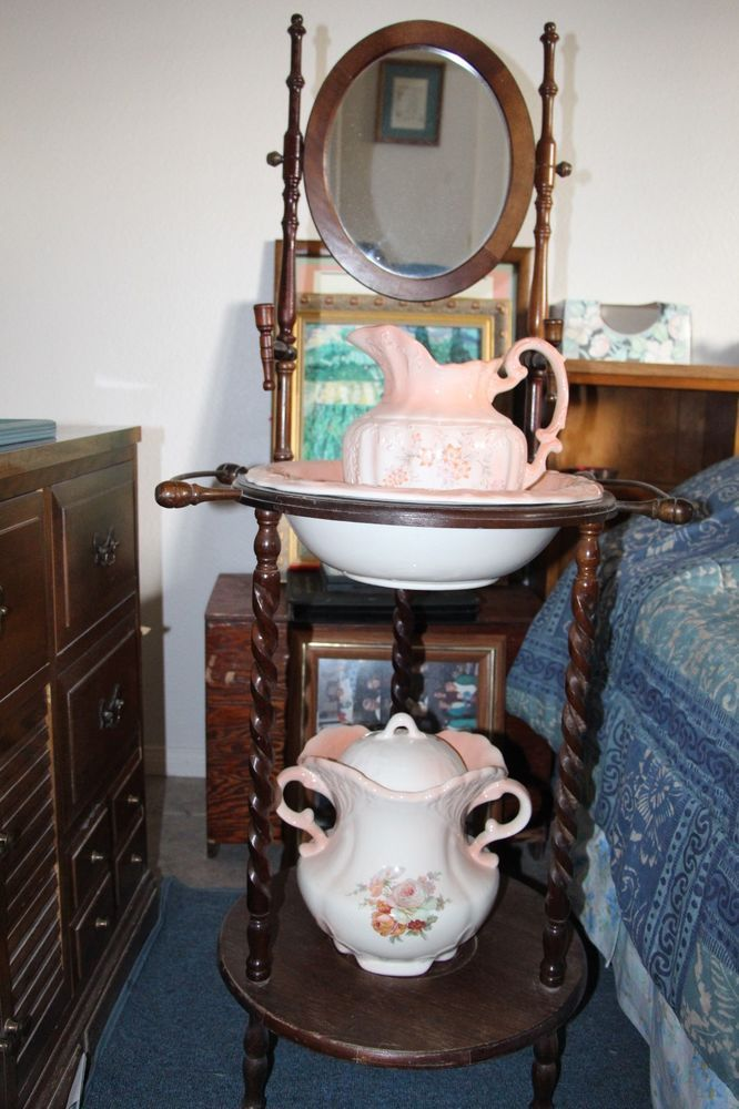 Antique Vintage Wash Basin Stand W Mirror Wash Basin And Pitcher