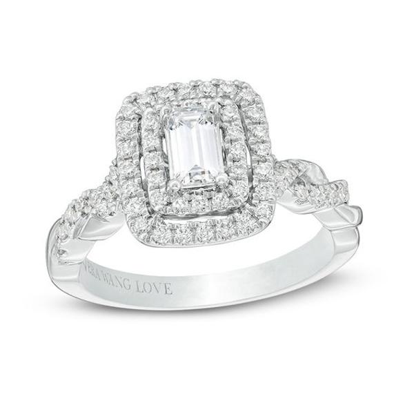 361e5be7aa6f3 Vera Wang Love Collection 1 CT. T.W. Emerald-Cut Diamond Double ...