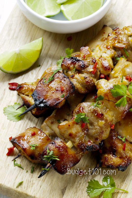 Easy Key West Grilled Chicken skewers marinated with soy sauce, coriander or cilantro, honey and lime.