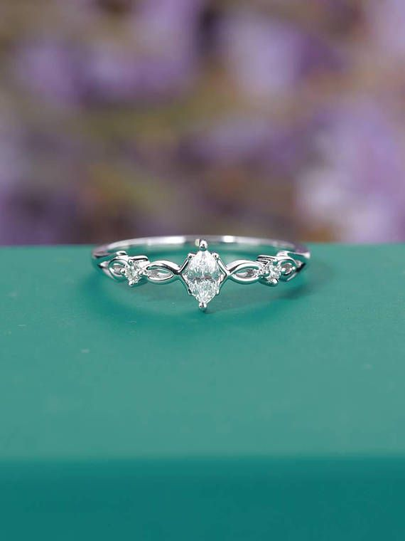 vintage Moissanite Engagement Ring White Gold Women, Unique Marquise cut Simple Ring, Art déco Bridal set Diamond, Anniversary Gift for her