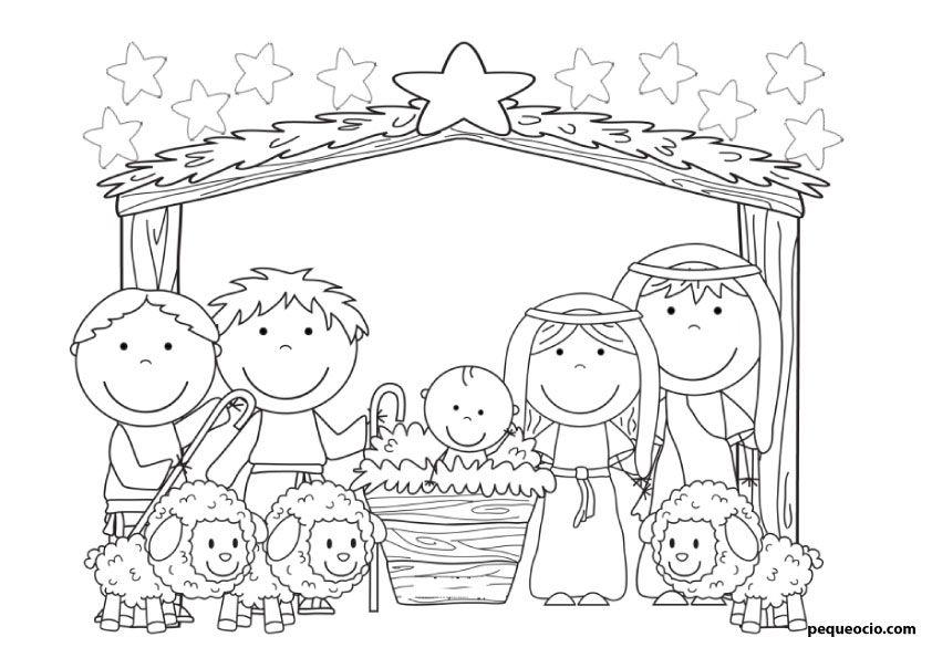 50 Dibujos De Navidad Para Colorear Y Aprender A Dibujar Pequeocio Dibujo Navidad Para Colorear Pesebres Para Colorear Dibujo De Navidad