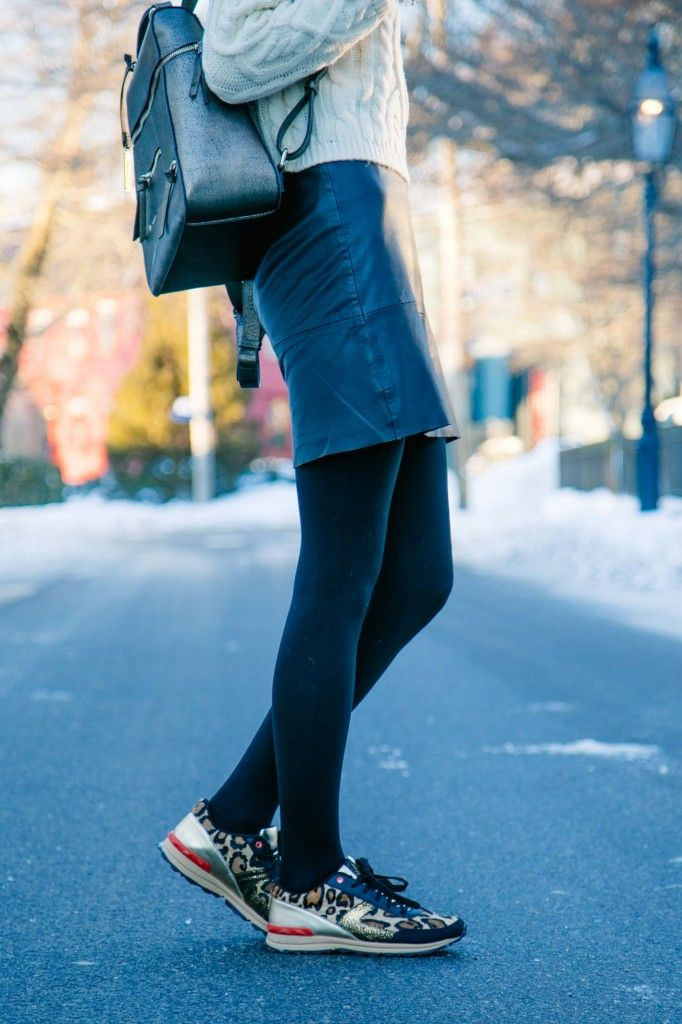 19b52e420f3ec Leather Skirt and Leopard Sneakers