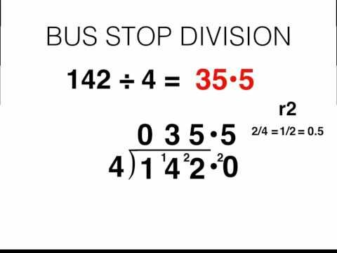 Bus Stop Division and Converting Remainders to Decimal