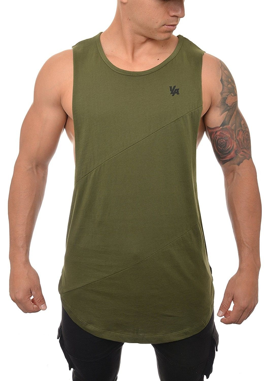 8fff4a67b2a4 Men's Clothing, Active, Active Shirts & Tees, Long Tank Tops For Men Muscle  Shirt Bodybuilding Gym Athletic Training Sports Everyday Wear 306 - Olive  ...