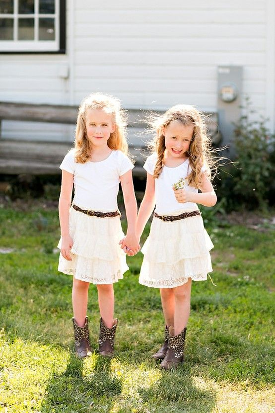 f44ee890d4212 Classic farm wedding flower girls in cowboy boots - Classic farm ...