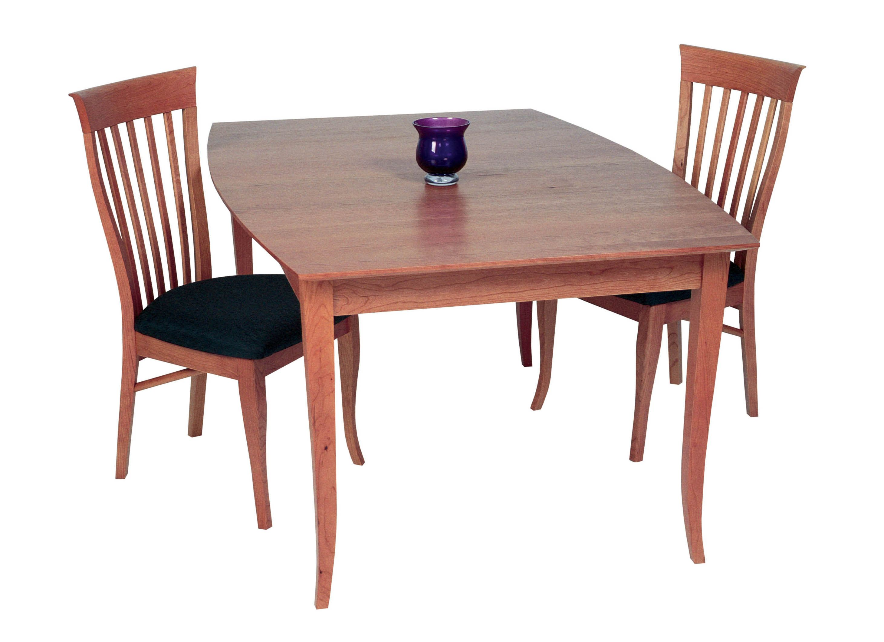 Solid Cherry Boat Shaped Table With Flare Legs Wood Dining Room