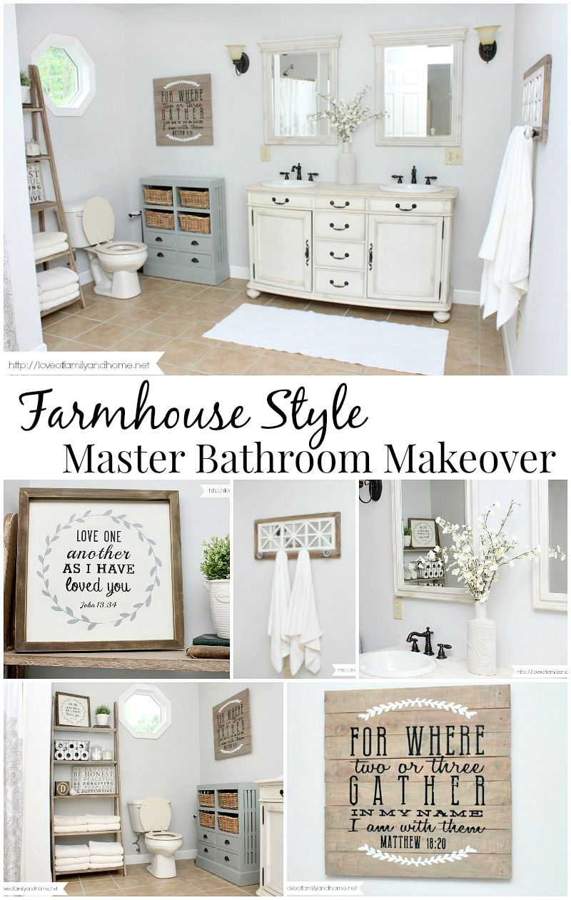 farmhouse style master bathroom makeover making our new house our home pinterest. Black Bedroom Furniture Sets. Home Design Ideas