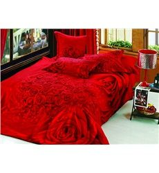 Forever Love Red Roses Print 4-Piece Cotton Duvet Cover Sets