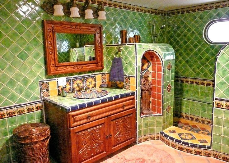 Green Talavera Tile In Bath | Indeed Decor