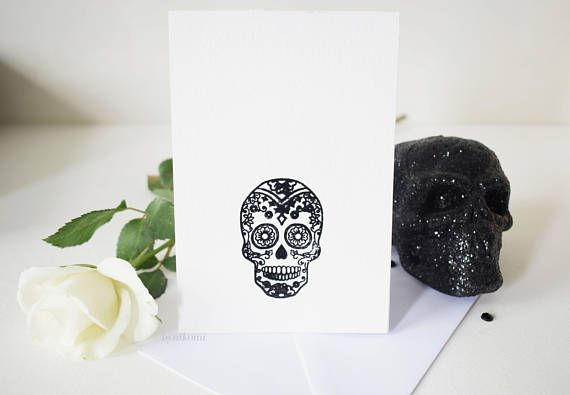Blank white skull greetings card with spinning skull element a6 blank white skull greetings card with spinning skull element a6 birthday card alternative card halloween day of the dead m4hsunfo