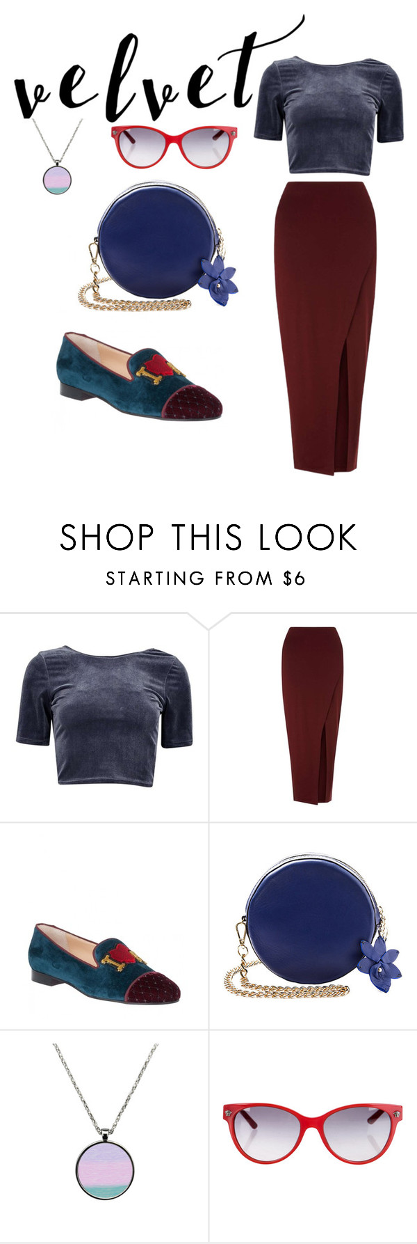 """""""vlvt"""" by aalinevi ❤ liked on Polyvore featuring Miss Selfridge, Christian Louboutin and Versace"""