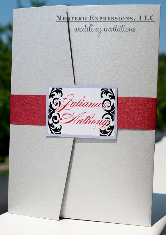 Silver Gray And Red Wedding Invitation By NeotericExpressions 450