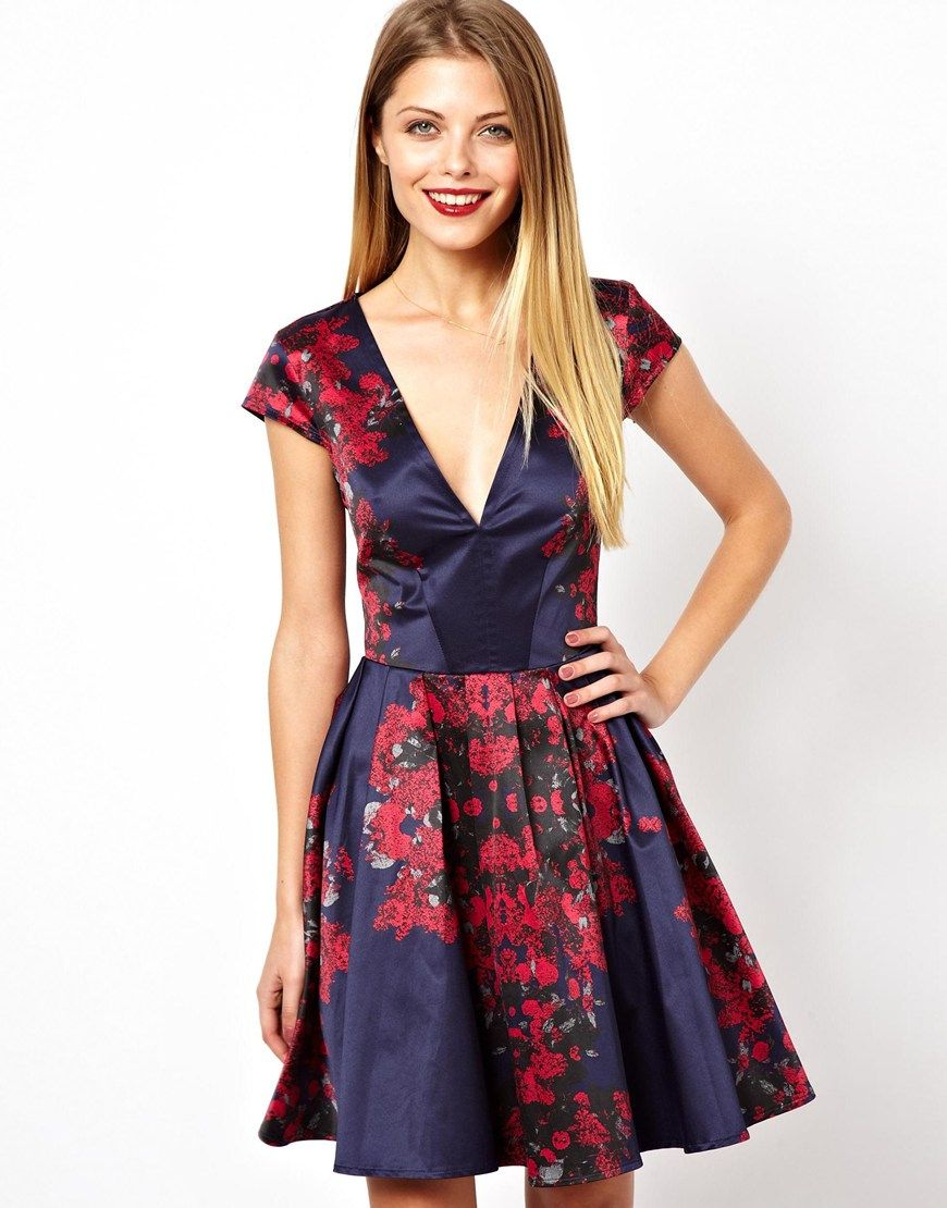 Asos mirror floral deep v skater dress dress up pinterest