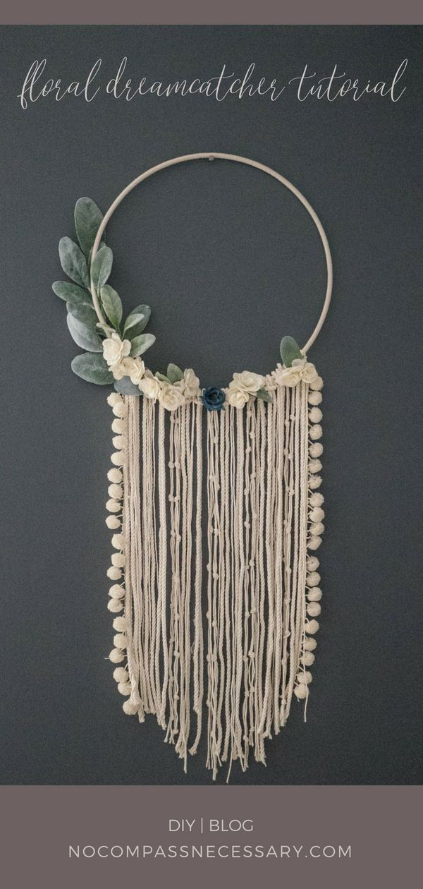 Photo of Beautiful Floral Wall Hanging Dream Catcher DIY tutorial – perfect for a nursery