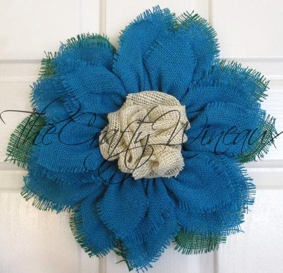 Photo of Small turquoise burlap sunflower wreath, sunflower door holder, burlap wreath, spring flower wreath, summer sunflower