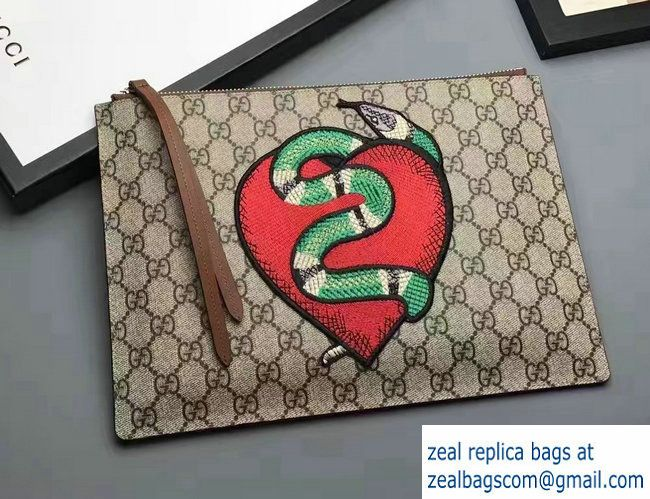 4f3fb7a521f Gucci GG Supreme Zip Pouch Clutch Bag 456864 Brown Limited Edition  Embroidered Heart And Snake 2017
