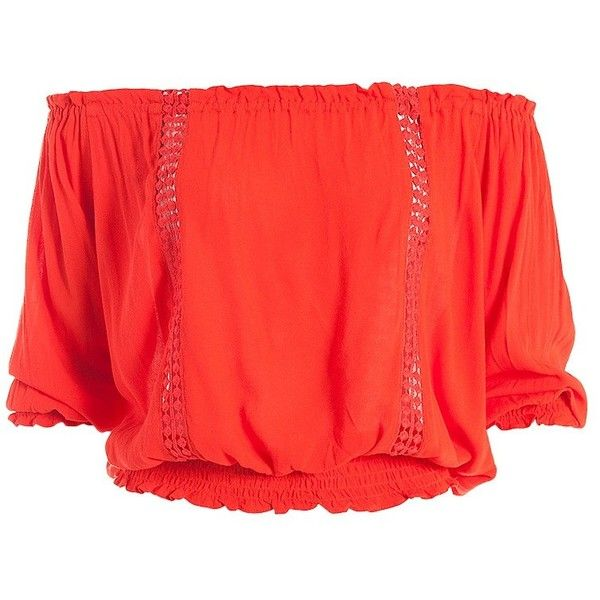 Sans Souci Smocked off shoulder top (€27) ❤ liked on Polyvore featuring tops, blouses, orange, off shoulder blouse, red crop top, red top, crochet crop top and crop blouse