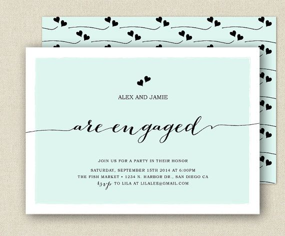 Chic Engagement Party Invitation - Modern Handstyle Lettering ...