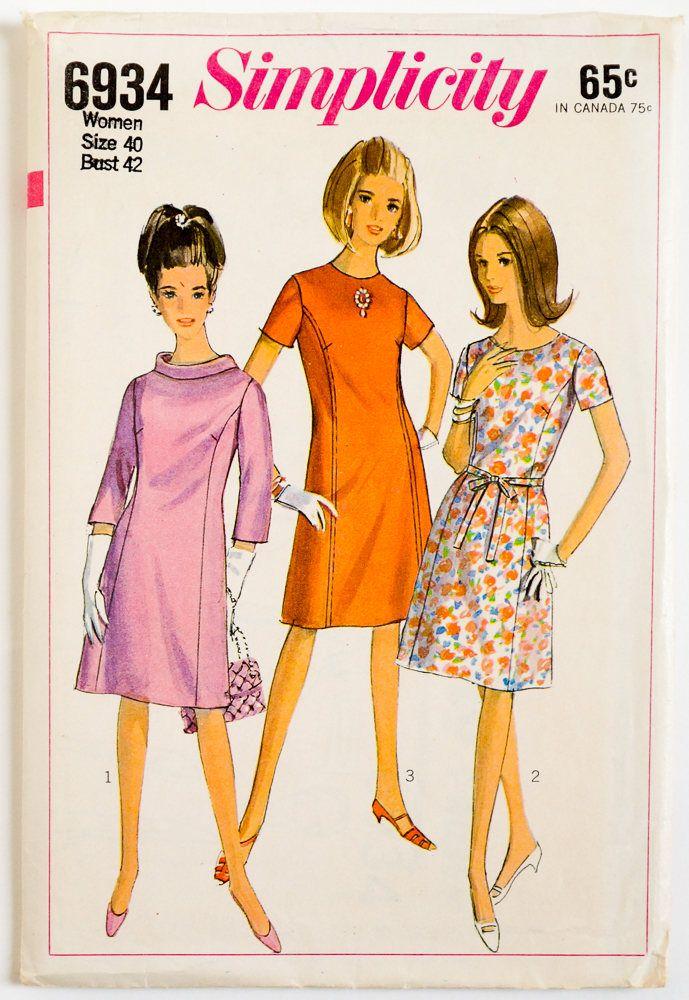 Vintage 1960s Womens Size 40 Princess Line Dress Simplicity Sewing ...