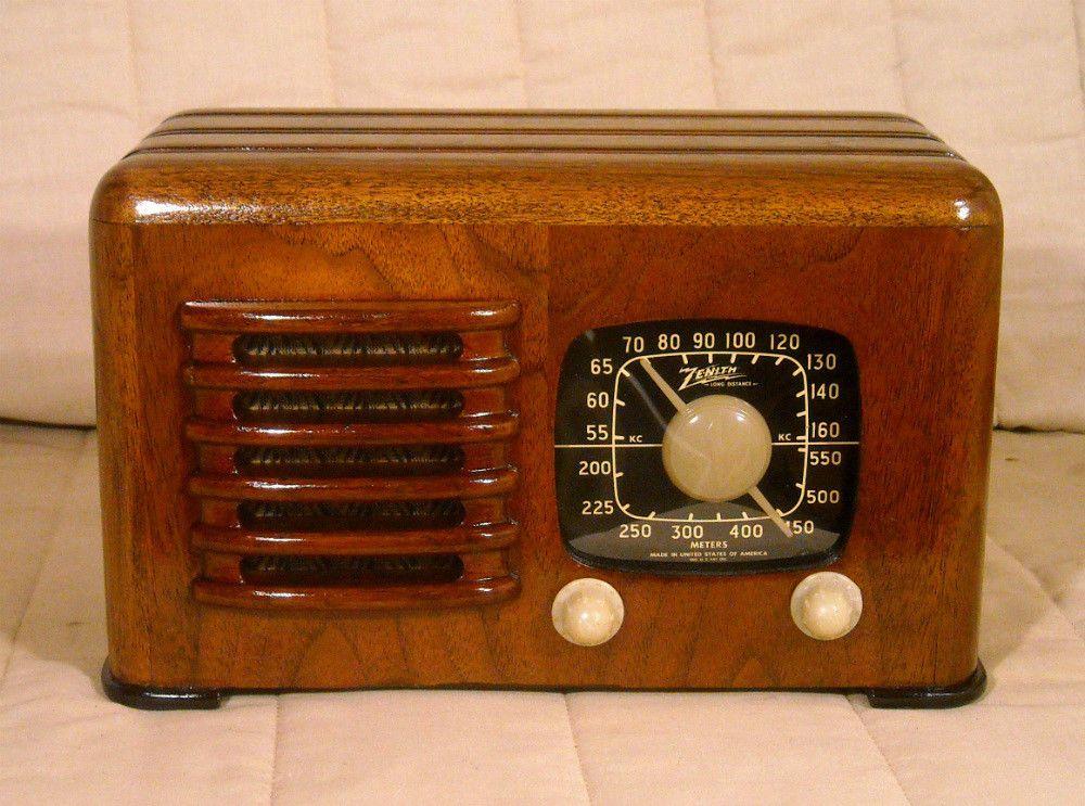 Old Antique Wood Zenith Vintage Tube Radio Restored Working Art Deco Black Dial Zenith Antique Radio How To Antique Wood Retro Radios