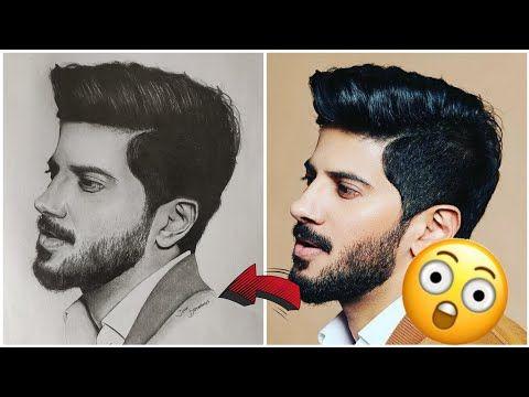 Easy Drawing Dulquer Salmaan   ദുൽഖർ സൽമാൻ - YouTube in ...