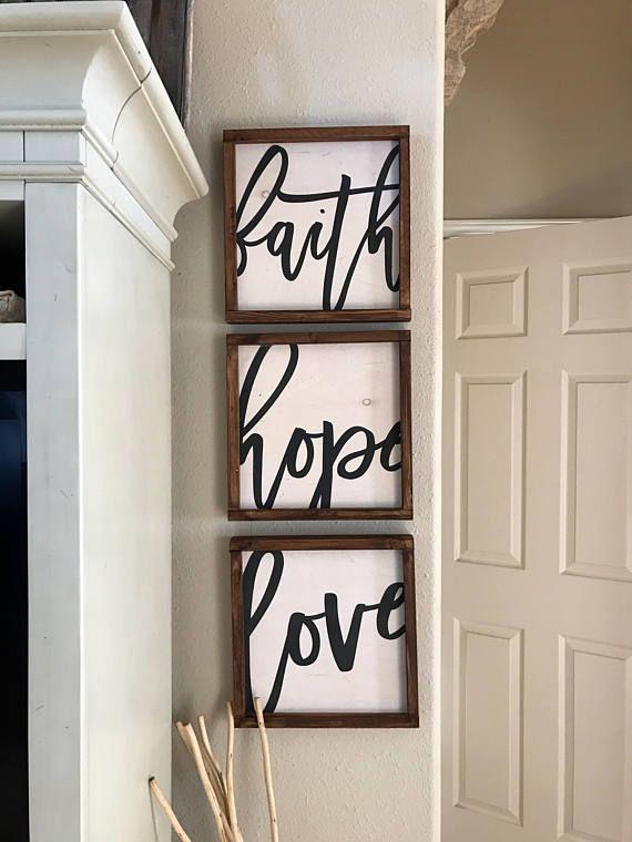 Faith Hope Love Set Of 3 12x12 Handcrafted Custom Framed