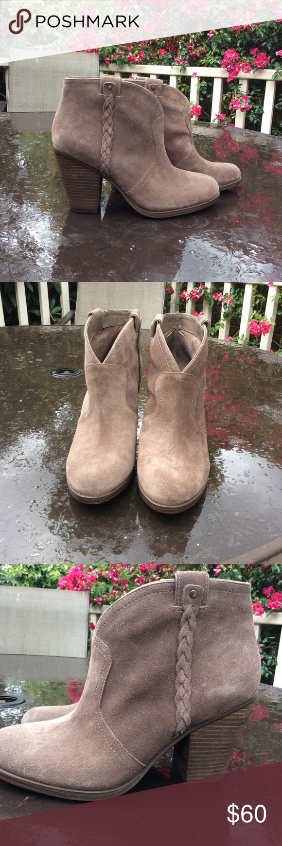 Vince Camuto Suede Bootie Beautiful tan suede Vince Camtuo Bootie. Brand new, never worn. Braid detail on ankle. Vince Camuto Shoes Ankle Boots & Booties