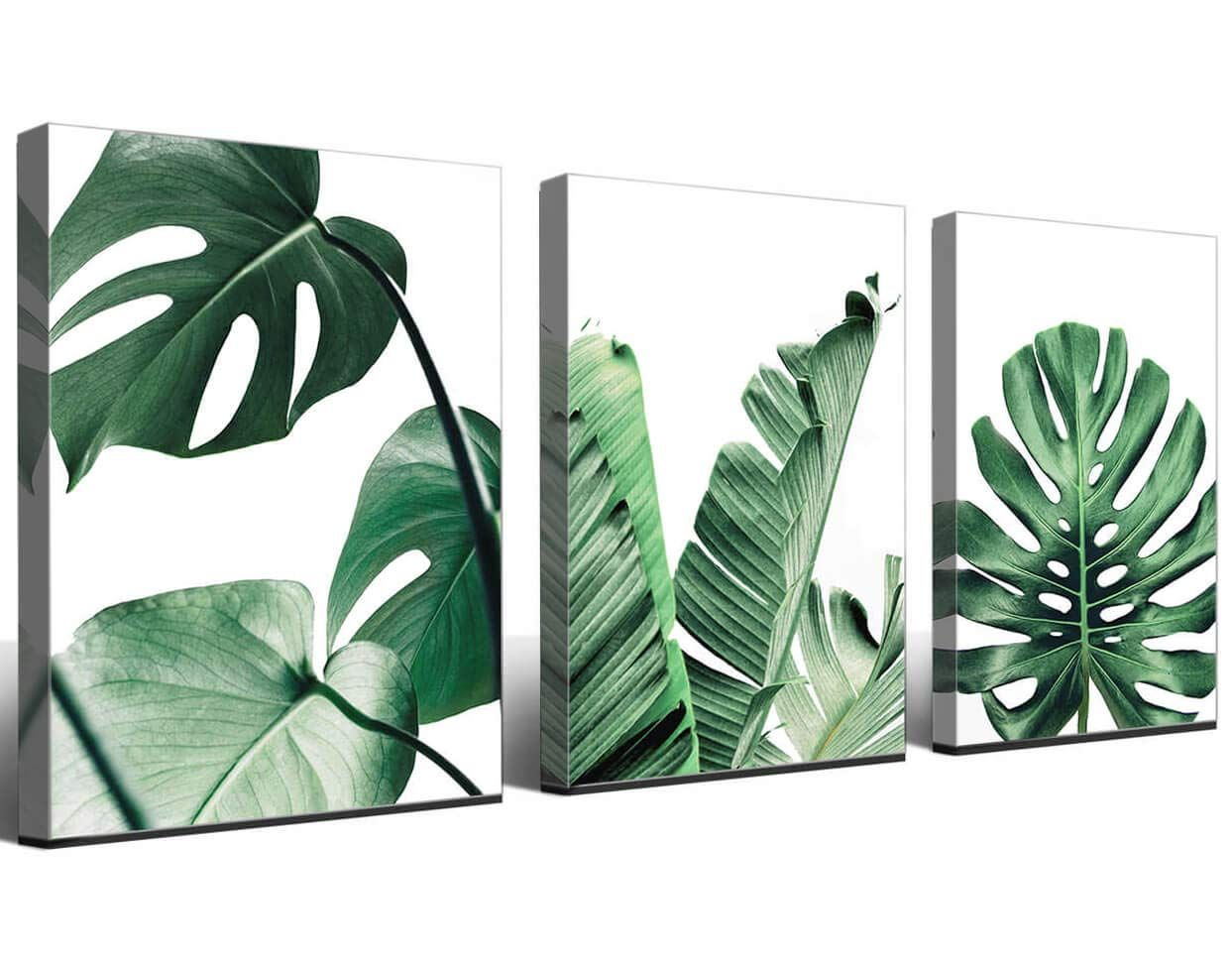 "Set of 3PC Bar Plants Leaves Nordic Style Poster Thin Silk  24/"" x 16/"" Inch"