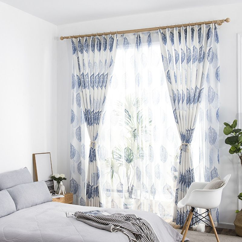Navy Blue Leaf Country Scandinavian Nordic Living Room Curtains With Sheer In 2020 Curtains Living Room Nordic Living Room White Sheer Curtains
