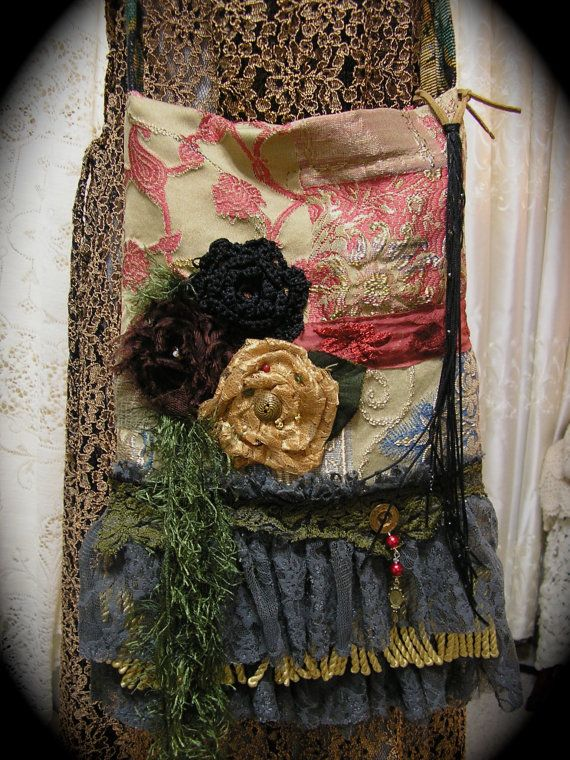 Bohemian Gypsy Bag layers ruffled lace fringes handmade by Dede of GrandmaDede.Etsy