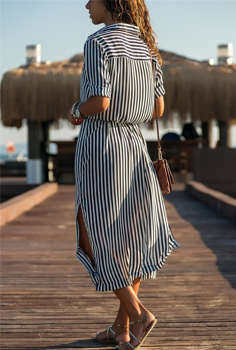 Chiffon Striped Casual A Line Long Sleeve Midi Party Dress Striped Dress Summer Striped Shirt Dress Casual Dresses [ 1184 x 800 Pixel ]