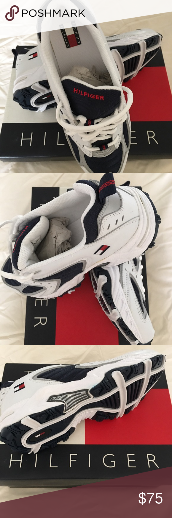 8047b40e09977f Tommy Hilfiger women s sneakers Brand new in box Tommy Hilfiger sneakers  Size 8 Women s White Navy color Tommy Hilfiger Shoes Athletic Shoes