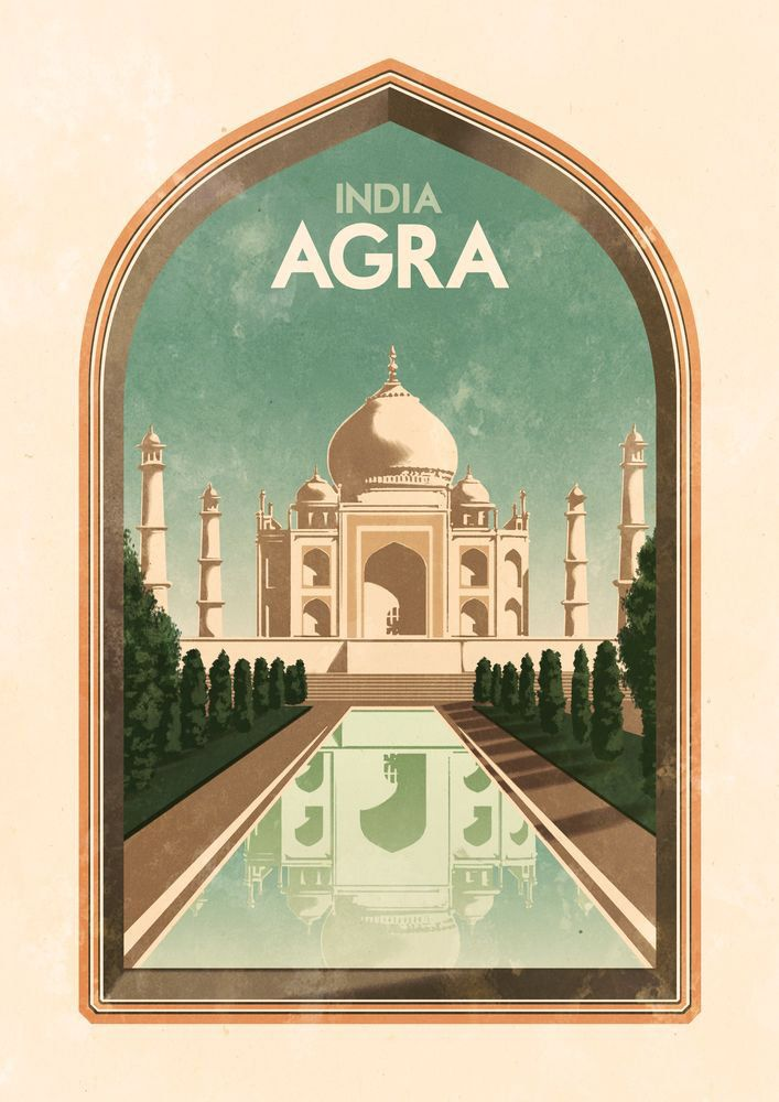 Click to enlarge illustration: Vintage Travel Poster - Agra - India - Taj Mahal