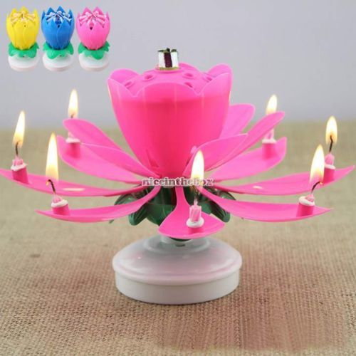 New Amazing Flower Lotus Lights Musical Birthday Candle Cake Topper Gift N98B In Other