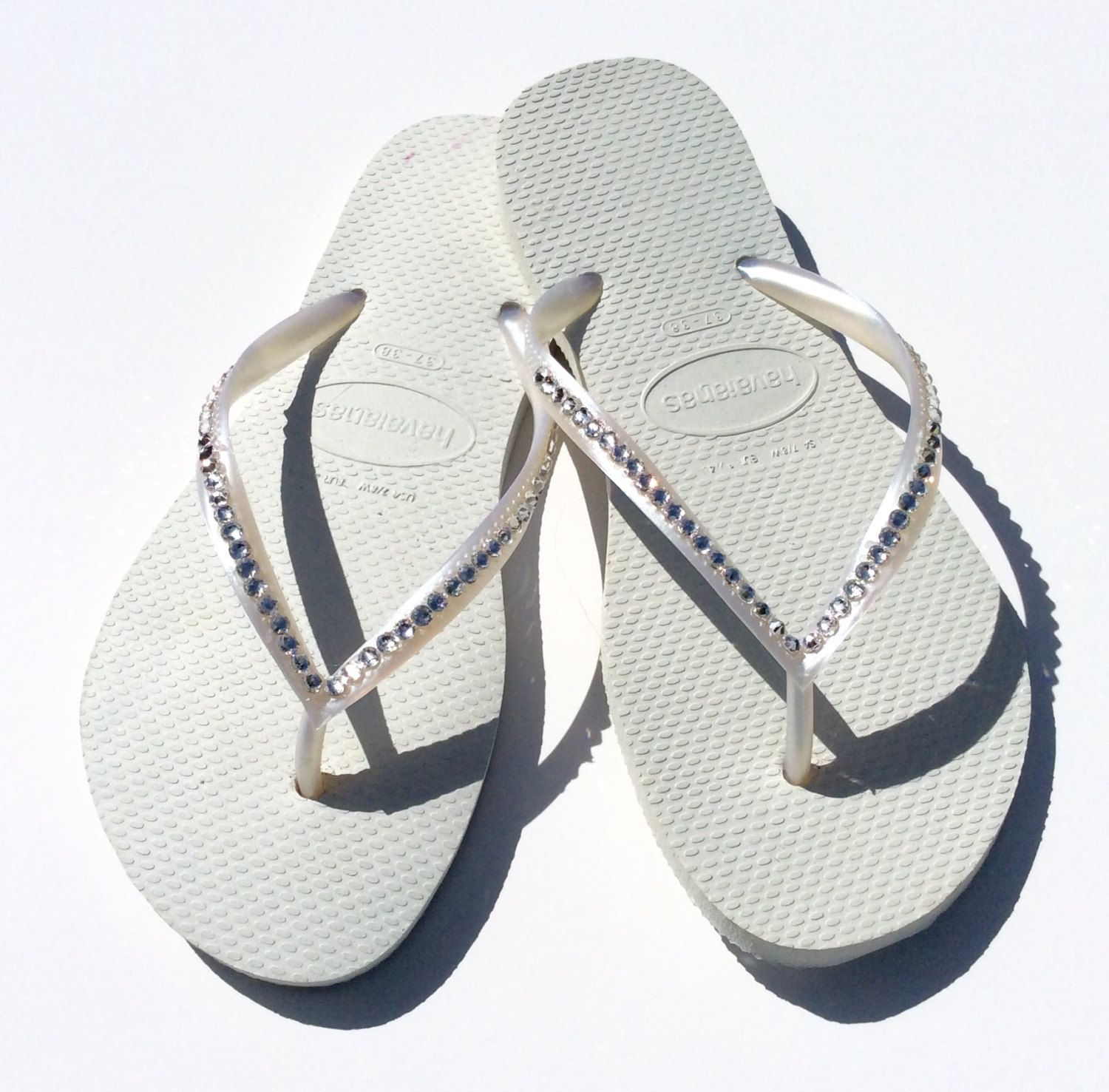 db4d92daaddd Genuine Brazilian Havaianas with Thin Straps covered in SWAROVSKI® ELEMENTS  - Crystal (Clear)