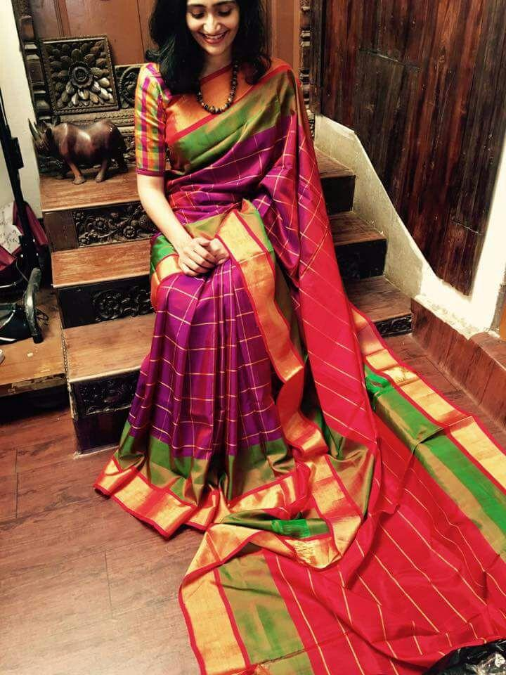 a064ce7fa8d549 Purple Uppada handwoven checks silk saree with multi color border and orange  pallu coming with an unstitched blouse.They are traditional handwoven silk  ...