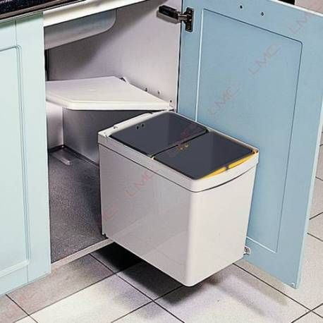 poubelle a tri selectif rotative 15 litres poubelles pour meuble bas accessoires de cuisines. Black Bedroom Furniture Sets. Home Design Ideas