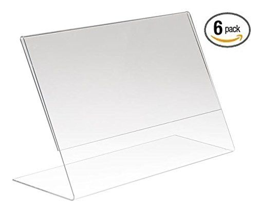 Amazon Com 6 Pack 6 X 4 Clear Acrylic Slant Back Ad Sign Holder Plastic Slanted Picture Photo Frame Office Sign Holder Clear Acrylic Sign Display
