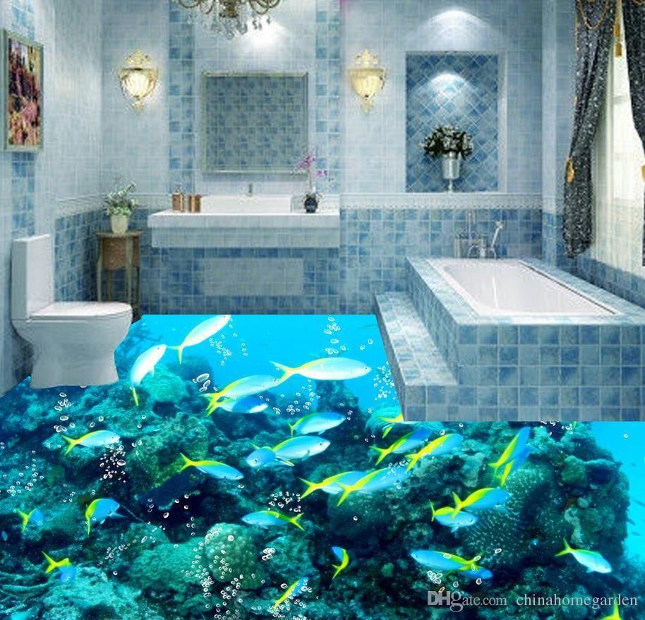 3d Wallpaper Customized 3d Floor Painting Wall Paper 3d Dark Ocean Floor Tile Stereograph Bathroom Floor Living Room Wallpaper 2018 From Ca 3d Oboi Oboi Remont