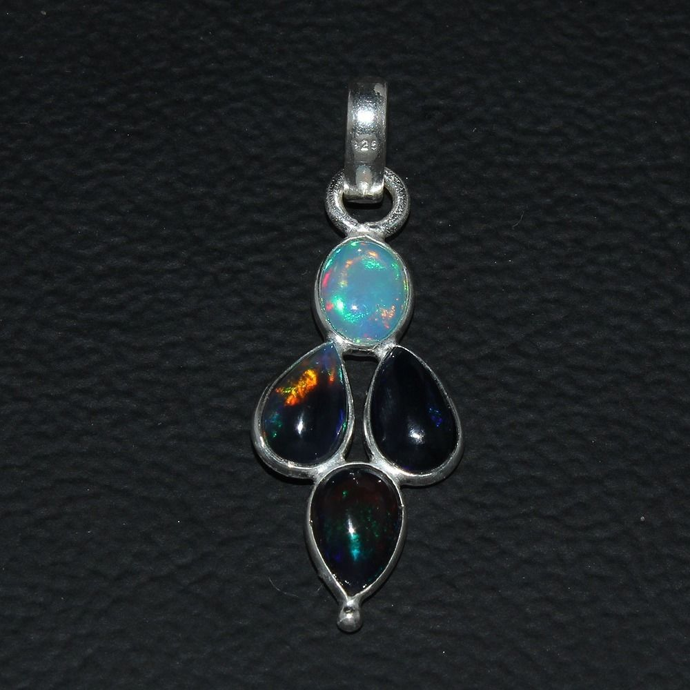 925 STERLING SILVER NATURAL ETHIOPIAN FIRE BLACK OPAL CAB PENDANT JEWELRY 129