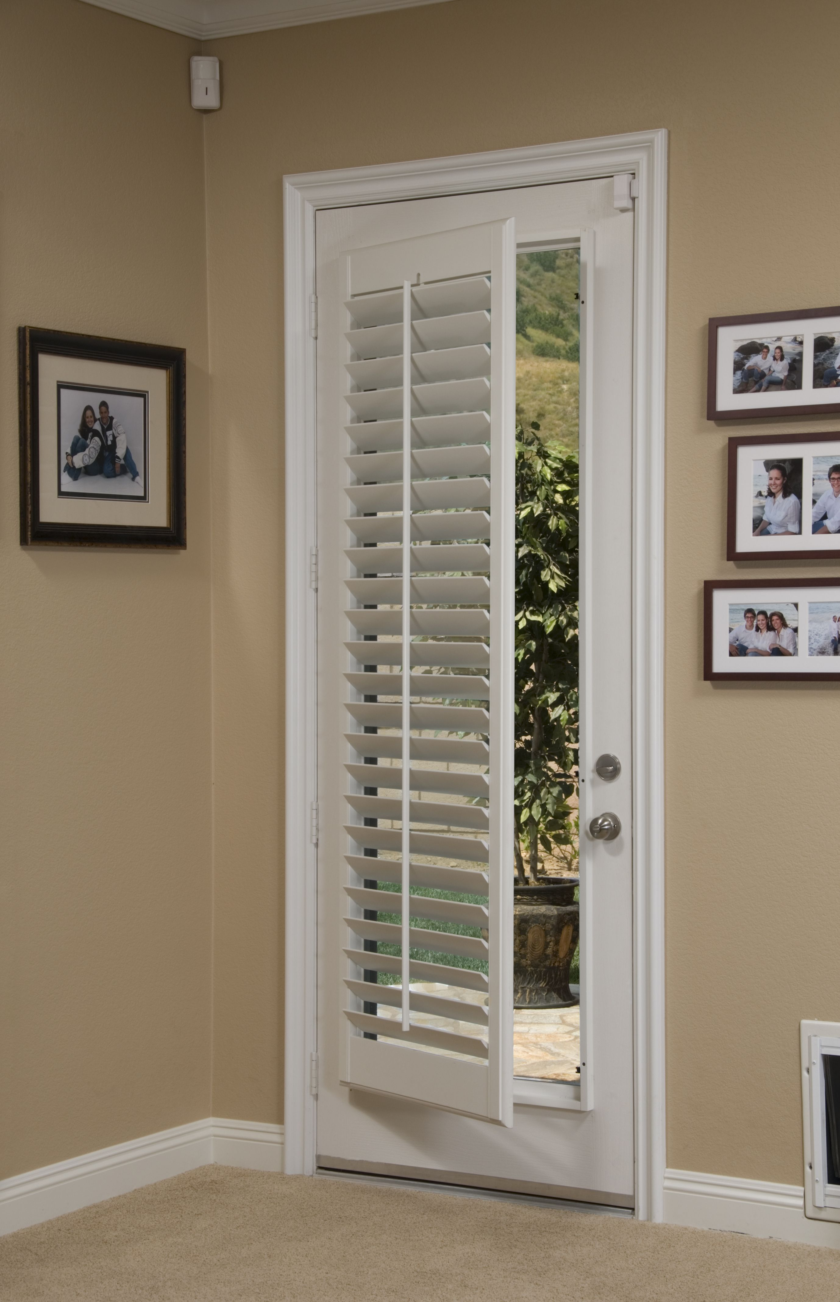 Windows with blinds inside the glass  Weure closing the door on November Plantation shutters are the