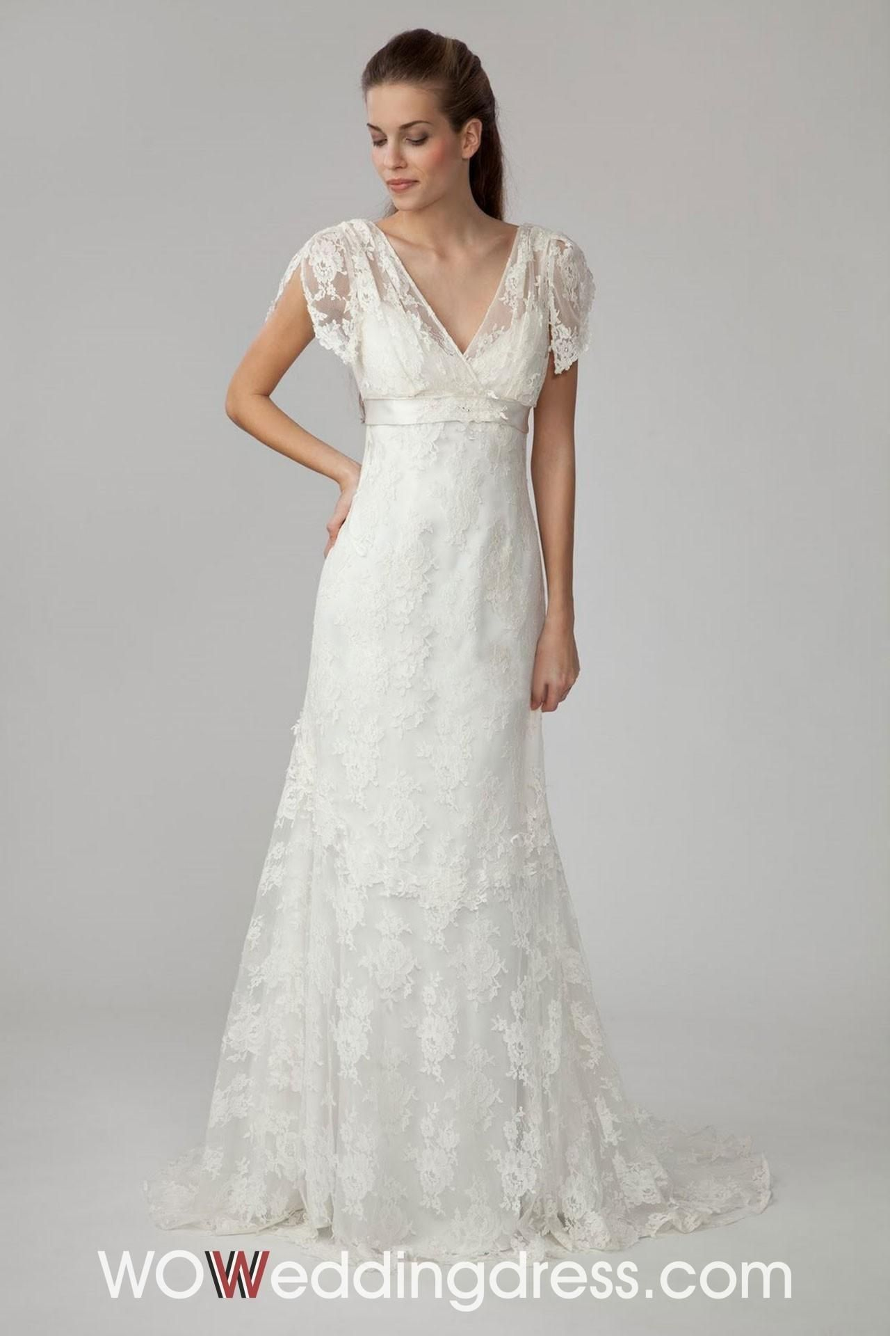short sleeve short wedding dress Lovely Vneck ShortSleeve Lace