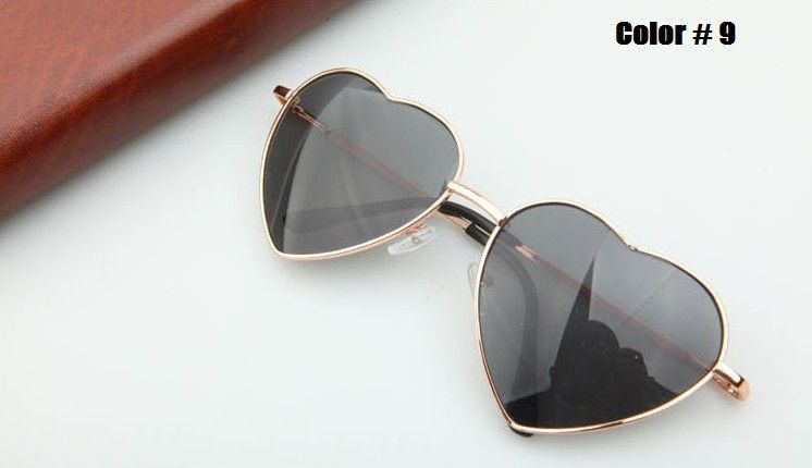 Heart Shaped Sunglasses Women metal Reflective Lense Fashion sun Glasses Men Sports mirror