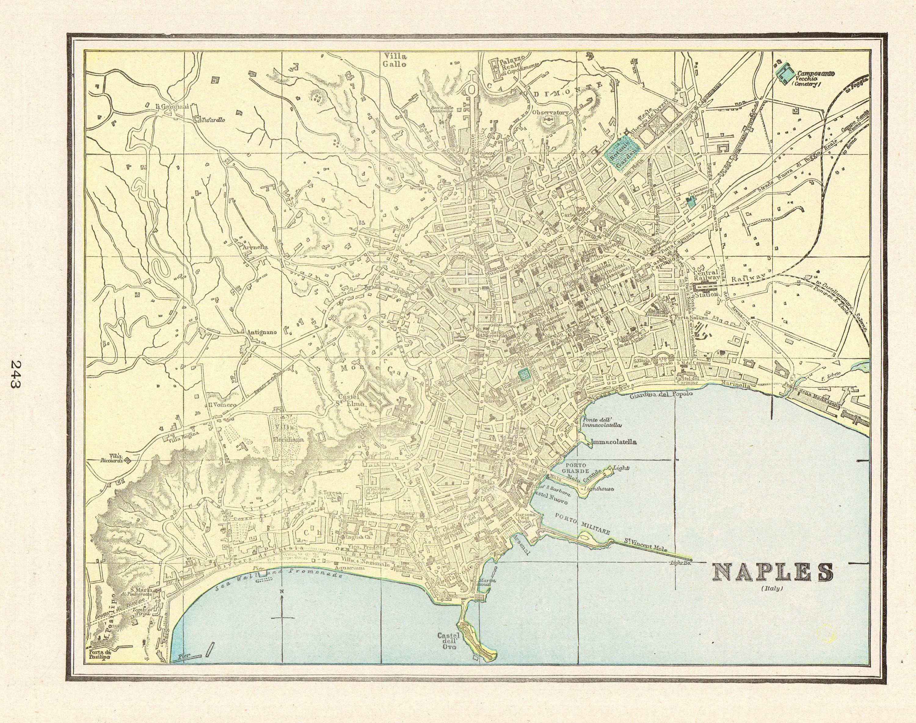 1900 Antique NAPLES Italy Map of Naples Gallery Wall Art ...