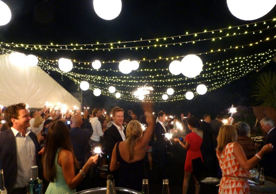 NYE Wedding Outdoor Dance Floor With Fairy Lights And Chinese Paper Lantern